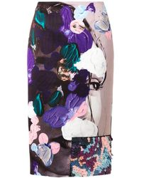 MSGM Abstractprint Satin Pencil Skirt - Lyst