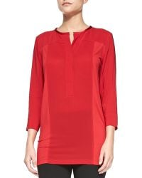 Donna Karan New York 34-sleeve Crepe Top with Jersey Sides - Lyst
