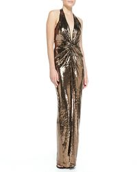 Halston Heritage Metallic Sequined V-neck Halter Gown - Lyst