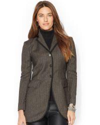 Lauren by Ralph Lauren Three-button Herringbone Wool Jacket - Lyst