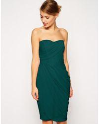 Asos Sheer Drape Midi Dress - Lyst