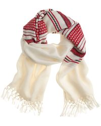 J.Crew Embroidered Wool Scarf - Lyst