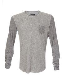 Velvet Long Sleeve Two-Tone T-Shirt - Lyst