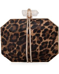 Marchesa - Iris Calf Hair Box Clutch Bag Leopard - Lyst