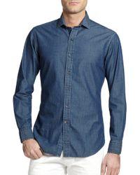 Ralph Lauren Black Label Sloan Chambray Woven Shirt - Lyst
