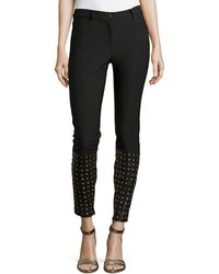 Nicole Miller Cole Denim Pants With Studded Leather Detail - Lyst