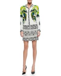 Roberto Cavalli Mixed-print Tie-waist Shirtdress - Lyst