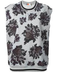 MSGM Floral Print Sleeveless Sweatshirt - Lyst