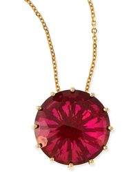 KALAN by Suzanne Kalan - 12mm Round Red Crimson Topaz Pendant Necklace - Lyst