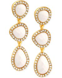 T Tahari Gold-Tone Ivory Stone And Crystal Triple Drop Earrings - Lyst