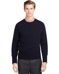 Brooks Brothers Navy Crewneck Sweater - Lyst