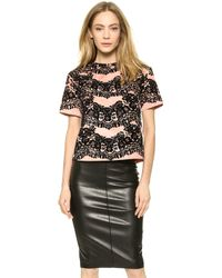 RED Valentino Flocked Print Top - Nude - Lyst