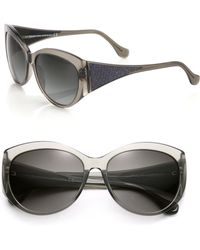 Balenciaga Textured Arms 58Mm Round Sunglasses gray - Lyst