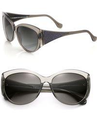 Balenciaga Textured Arms 58Mm Round Sunglasses - Lyst