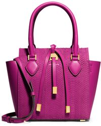 Michael Kors Miranda Small Sueded Snakeskin & Leather Tote - Lyst