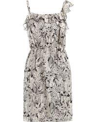 Anna Sui Asymmetrical Top Silk Tropical Dress gray - Lyst