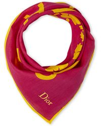 Dior Pink & Yellow Scarf pink - Lyst