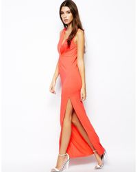 Asos Exclusive Twist Front Plunge Bodyconscious Maxi Dress - Lyst