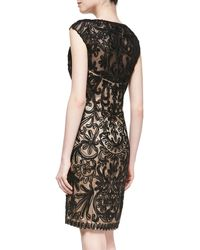 Sue Wong Passementerie Sheath Cocktail Dress Blacknude - Lyst