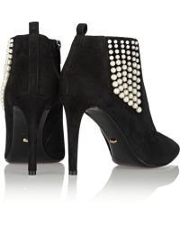 Sergio Rossi Faux Pearlembellished Suede Ankle Boots - Lyst