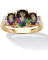 Palmbeach Jewelry - 2.75 Tcw Oval-cut Genuine Fire Topaz And Diamond Accent 10k Yellow Gold Ring - Lyst