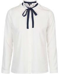 Topshop   Ruffle Tie-neck Shirt   Lyst