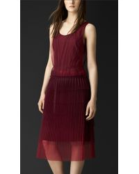 Burberry Sleeveless Pleated Tulle Dress - Lyst