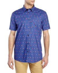 Wesc Brien Printed Sport Shirt blue - Lyst