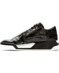 Versace Black Croc_embossed Leather Sneakers - Lyst