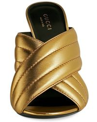 Gucci | Metallic Quilted Mules | Lyst