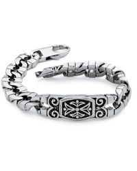 Palmbeach Jewelry - Men's Curb-link Bracelet In Stainless Steel With Antique Finish - Lyst