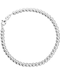 Azendi - Sterling Silver Plain Round Bead Bracelet - Lyst