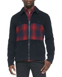 Band Of Outsiders Woolblend Coat with Plaidpanel - Lyst