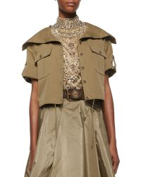 Ralph Lauren Collection Cropped Short-Sleeve Safari Jacket green - Lyst