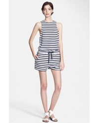 T By Alexander Wang Stripe French Terry Romper - Lyst