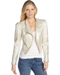 Alice + Olivia Ivory and Silver Metallic Lace Eriko Moto Jacket - Lyst