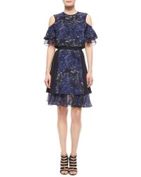 Prabal Gurung Splatter-Print Tiered Silk Dress blue - Lyst