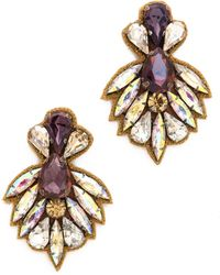 Deepa Gurnani Crystal Statment Earrings Plum Multi - Lyst