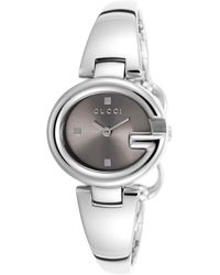 Gucci Women'S Ssima Silver-Tone Steel Brown Dial - Lyst