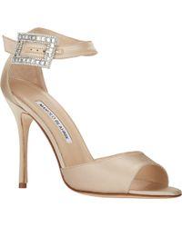 Manolo Blahnik Jeweled-Buckle Dribbin Sandals - Lyst