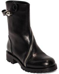 Alexander McQueen Rider Calf Skull Zipper Boot black - Lyst