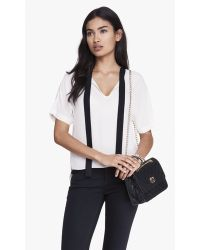 Express Tie Front Short Sleeve Blouse - Lyst