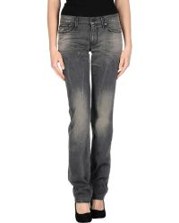 7 For All Mankind Gray Denim Pants - Lyst
