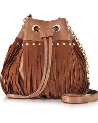 Diane von Furstenberg Disco Saddle Brown Suede And Leather Fringe Bucket Crossbody Bag - Lyst