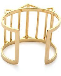 Paige Novick - Claire Collection 3d Geometric Open Cuff Bracelet Shiny Gold - Lyst