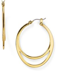 T Tahari - Double Hoop Earrings - Lyst