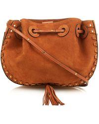 Chloé - Inez Studded-trim Suede Cross-body Bag - Lyst