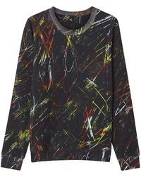 McQ by Alexander McQueen Black Brushstroke Print Cotton Sweatshirt - Lyst