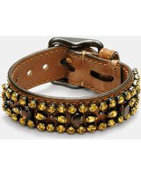 COACH | Wide Leather Encrusted Crystal Bracelet | Lyst