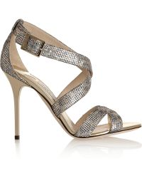 Jimmy Choo Lottie Glitter-finished Textured-lamé Sandals - Lyst